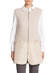 Piazza Sempione Shearling Trimmed Knit Vest Beige