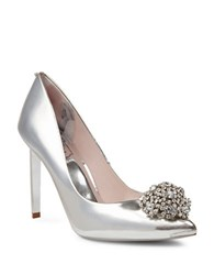 Ted Baker Peetch Broach Embellished Leather Pumps Silver