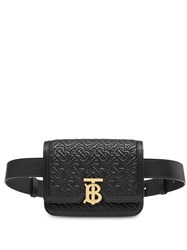 Burberry Belted Quilted Monogram Lambskin Tb Bag Black