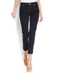 Inc International Concepts Petite Straight Leg Cropped Jeans Tikglo Wash