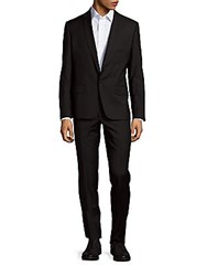 Balmain Solid Wool Suit Charcoal