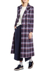 Halogen X Atlantic Pacific Long Plaid Coat Navy Plaid