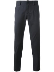 Dolce And Gabbana Contrast Stitch Trim Chinos Blue