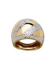 Lord And Taylor Gold Rush 14K Yellow Gold Asymmetrical Textured Striped Dome Ring