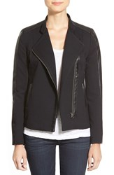 Nydj Faux Leather And Ponte Moto Jacket Black