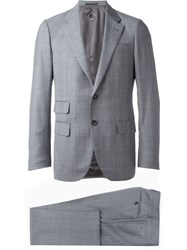 Caruso Two Piece Plaid Suit Grey