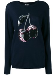 Markus Lupfer Sequin Cherry Embroidered Jumper Blue