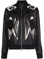 Diesel Black Gold Leather Bomber Jacket Black