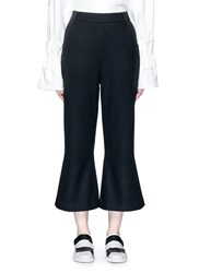 Shushu Tong Felted Wool Blend Cropped Bell Bottom Pants Black
