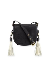 Badgley Mischka Bailey Pebbled Saddle Bag Black