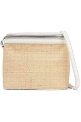 Kara Woman Stowaway Pebbled Leather And Straw Shoulder Bag Beige