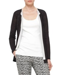 Akris Knit Open Front Cardigan Black White Black White