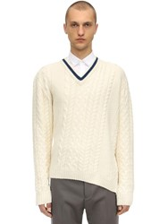 Lanvin Asymmetric Wool And Alpaca Blend Sweater White