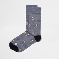 River Island Mens Navy Bulldog Print Ankle Socks