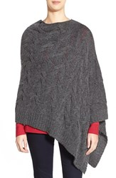 Women's Eileen Fisher Funnel Neck Cable Knit Poncho Grey Charcoal