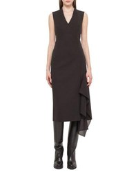 Akris Sleeveless Faux Wrap Dress Dark Brown Brown Dark