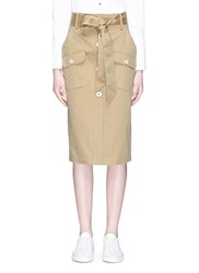 Comme Moi Belted Cotton Twill Pencil Skirt Brown