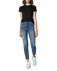 Blank Nyc The Bond Distressed Crop Skinny Jeans With Zippers Jersey Girls
