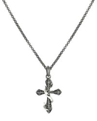 Stephen Webster Men's Thorn Cross Pendant Necklace W Black Sapphire Pave Silver