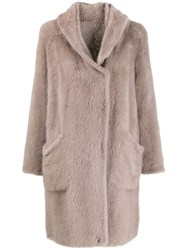 Liska Oversized Fur Coat Neutrals