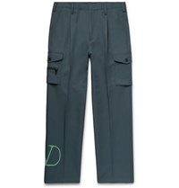 Valentino Pleated Logo Print Tech Jersey Cargo Trousers Green