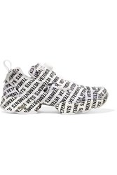Vetements Reebok Instapump Fury Logo Print Leather And Mesh Sneakers White