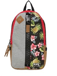 Supe Design Floral Print Techno Canvas Day Backpack