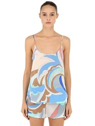 Emilio Pucci Printed Silk Sleeveless Top Blue Orange