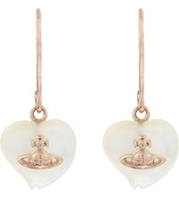 Vivienne Westwood Liz Heart Shaped Drop Earrings White Mop Pink Gold