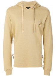 Les Hommes Eyelet Logo Hoodie Nude And Neutrals