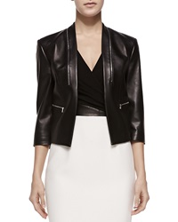 Michael Kors Princess Seamed Leather Zip Jacket