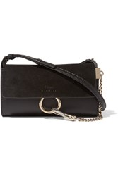 Chloe Faye Mini Leather And Suede Shoulder Bag Black