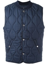 Maison Kitsune Quilted Gilet Blue