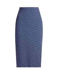 Altuzarra Vic Checked Seersucker Pencil Skirt Blue Multi