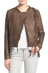 Women's Levi's Fringed Stonewash Lambskin Leather Jacket Dark Brown
