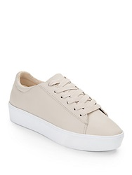 Nine West Hear Me Out Leather Platform Sneakers Light Grey