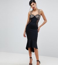 Asos Tall Lace Cupped Pephem Strappy Bodycon Dress Black