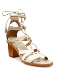 Frye Brielle Colorblock Suede Gladiator Sandals White Multi