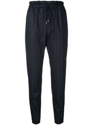 Astraet Pinstripe Cropped Trousers Blue