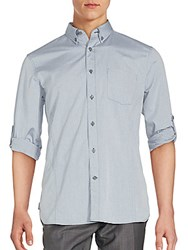 John Varvatos Cotton Roll Up Sleeve Shirt Storm Blue