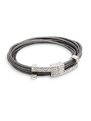 Saks Fifth Avenue Leather White Stone Wrap Bracelet Silver Pewter