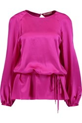 Matthew Williamson Jena Silk Satin Blouse Purple