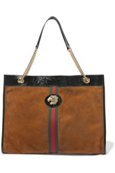 Gucci Tiger Patent Leather Trimmed Nubuck Tote Brown