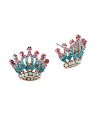 Betsey Johnson Princess Charming Jeweled Crown Earrings Blue