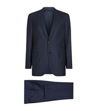 Brioni Check Wool Jacket Male Navy