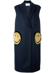 Anya Hindmarch Oversized 'Smiley' Gilet Blue