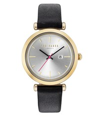 Ted Baker Ava Round Goldtone Stainless Steel Analog Leather Strap Watch Black
