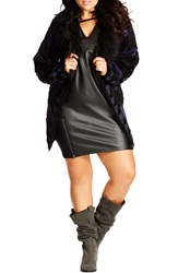 City Chic Long Cardigan With Faux Fur Collar Plus Size Black