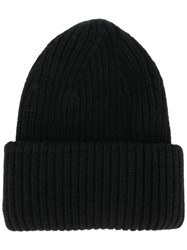Roberto Collina Classic Knitted Beanie Hat Black