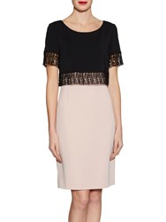 Gina Bacconi Moss Crepe Dress With Lattice Trim Apricot Crush
